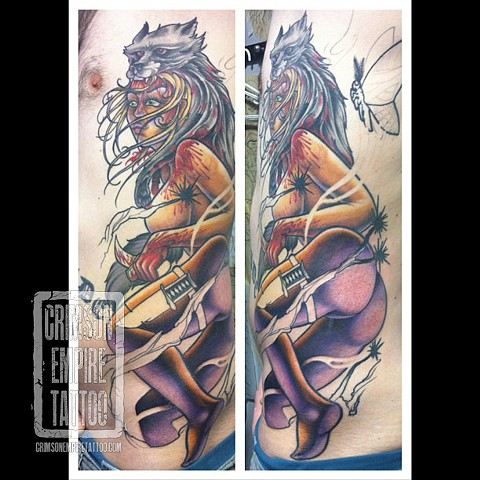 Lady with wolf hat on side by Jared Phair. Follow Jared @jroctizzle