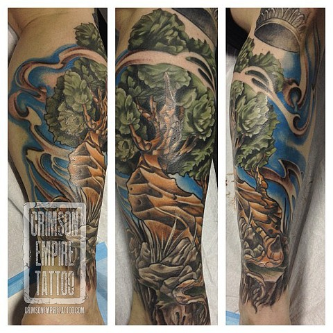 Tree on thigh by Josh Lamoreux