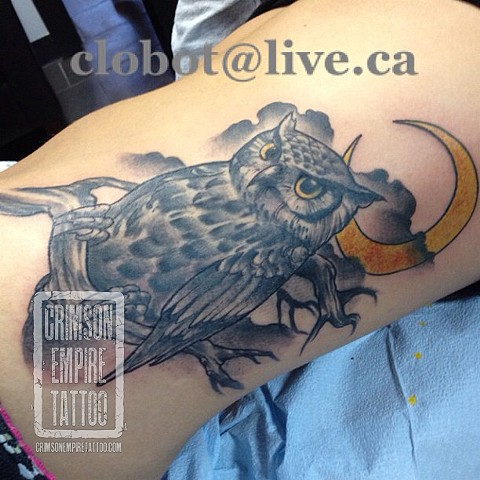 Owl on side by Chad Clothier