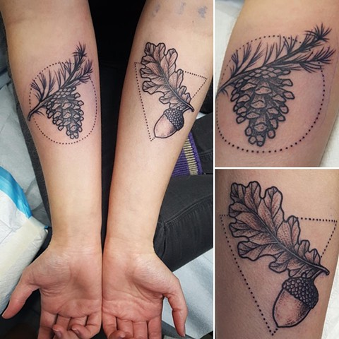 Acorn And Pine Cone Tattoo By Cheyanne Kot Pointillism Crimson Empire Tattoo