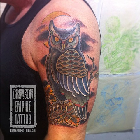 Owl Coverup on bicep by Curt Semeniuk