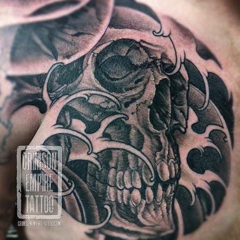 Skull theme on chest by Jared Phair