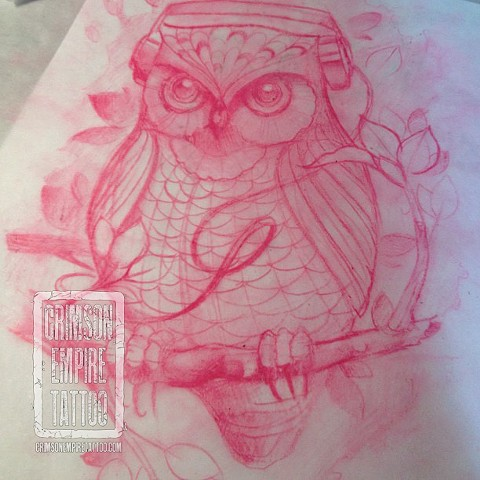 Owl with headphones sketch by Chad Clothier