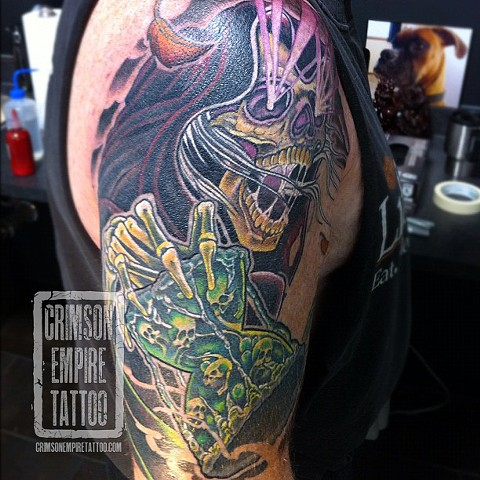 Grim reaper on bicep by Curt Semeniuk. Follow Curt @ol_curty_bastard