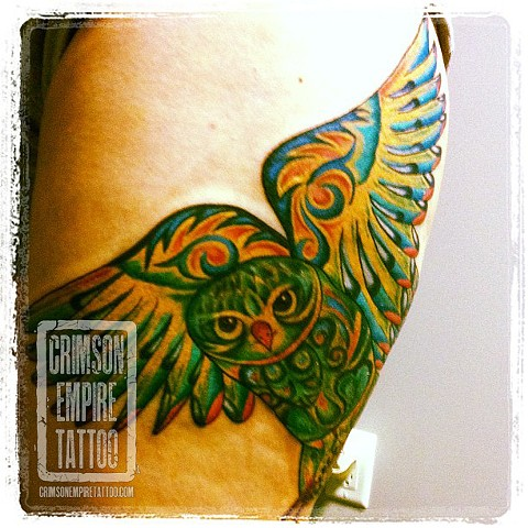 Green owl on thigh by Jessica Alther. Follow Jess @jessalther