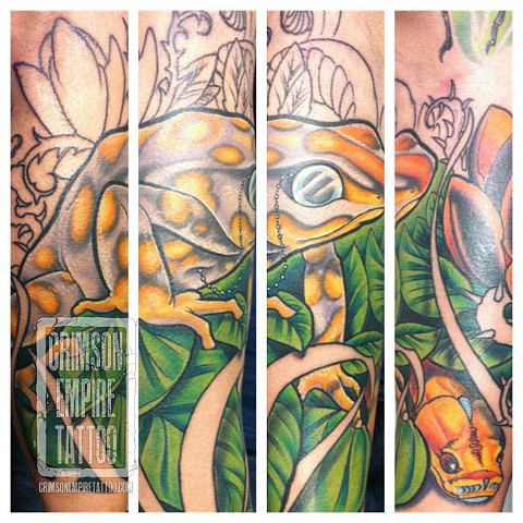 Frog sleeve on arm by Jared Phair. Follow Jared @jroctizzle