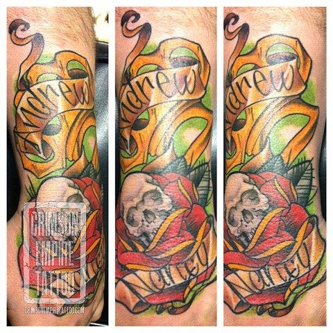 Banner, Flowers and Skull on hand and wrist by Jared Phair