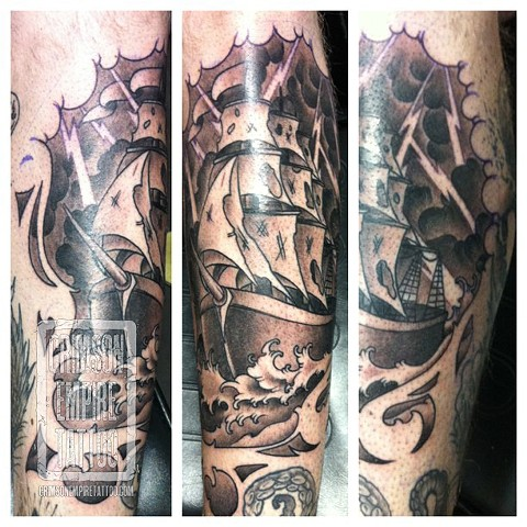 Pirate Ship on chin by Jared Phair