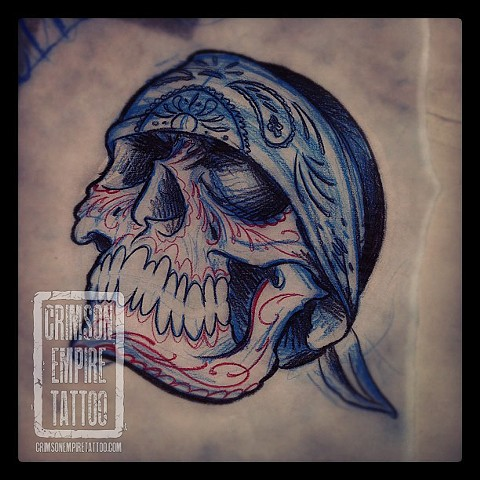 Bandana skull sketch by Jared Phair
