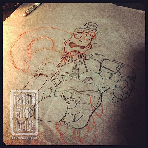 Robot and heard sketch by Chad Clothier