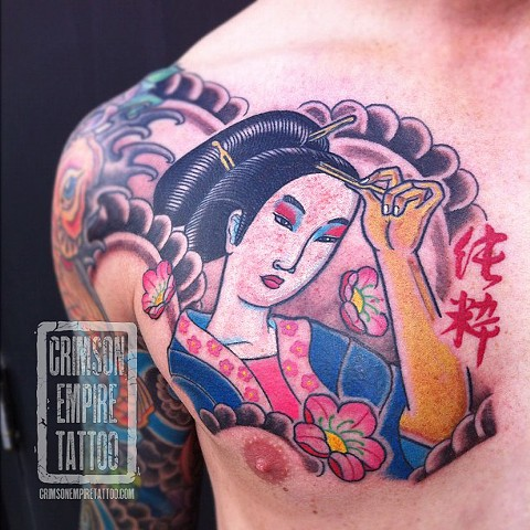 Geisha on chest by Curt Semeniuk. Follow Curt @ol_curty_bastard
