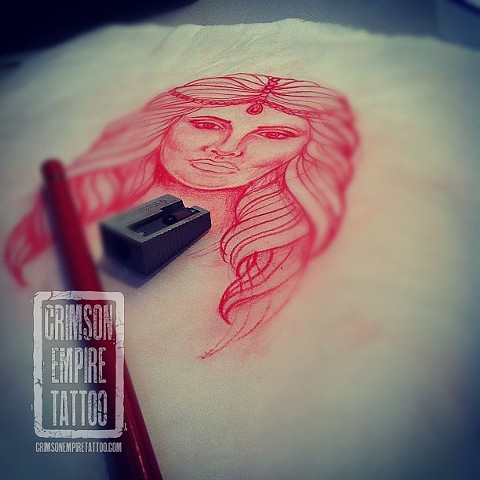Gypsy portrait sketch by Jessica Doyle