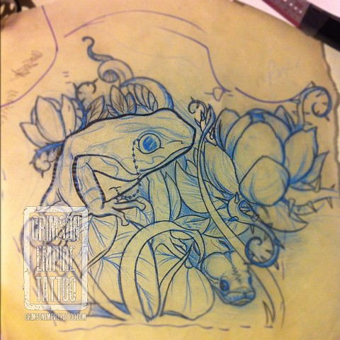 Frog sleeve sketch by Jared Phair. Follow Jared @jroctizzle