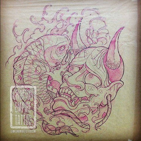 Hannya mask and koi sketch by Curt Semeniuk. Follow Curt @ol_curty_bastard