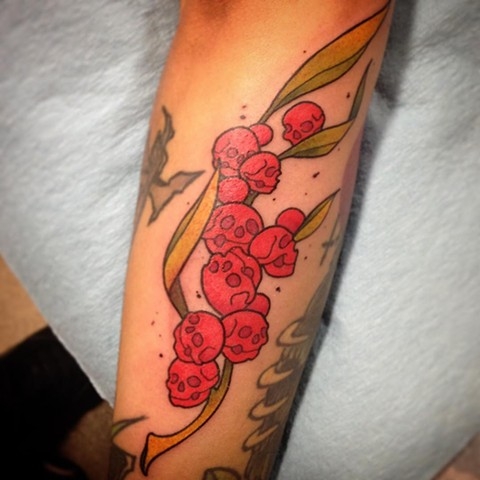 Skull Grapes Tattoo By Landon Wierenga Color Crimson Empire Tattoo