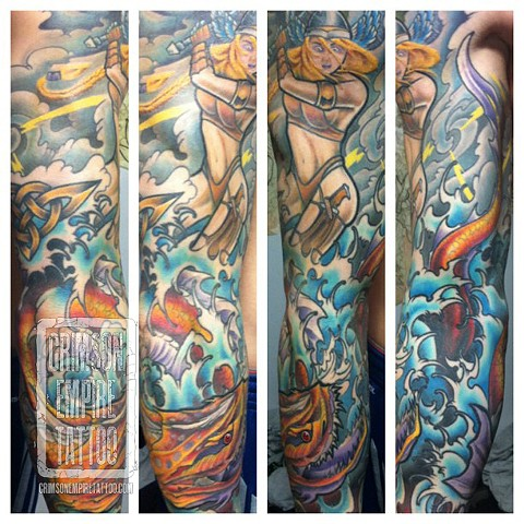 Goddess and water sleeve on arm by Jared Phair. Follow Jared @jroctizzle
