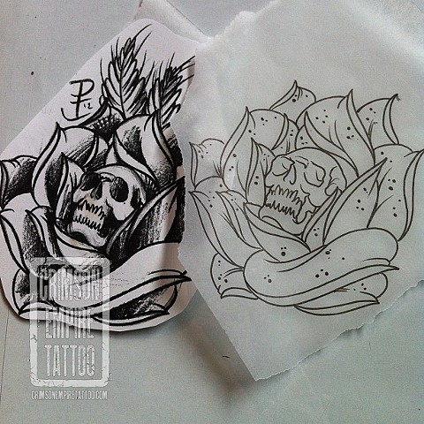 Flower and skull sketch by Jared Phair. Follow Jared @jroctizzle