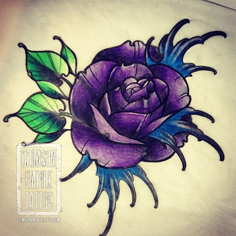 Purple Flowers on forearm by Jessica Alther