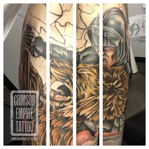 Gladiator and lion on side by Josh Lamoreux. Follow Josh @joshlamoureux