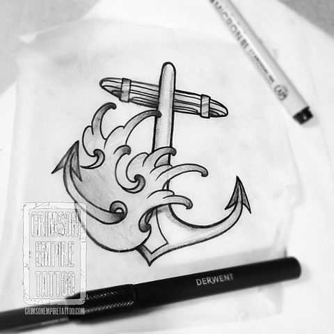 Anchor and waves sketch by Chad Clothier