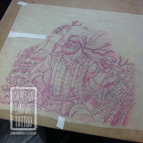 Lumberjack sketch by Curt Semeniuk. Follow Curt