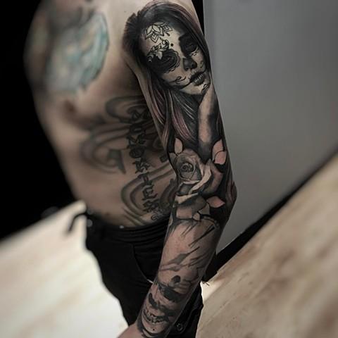 Black and Grey Woman with Skull, Clock and Rose Full Sleeve Tattoo