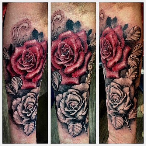 Colour/Black and Grey Rose Forearm Tattoo