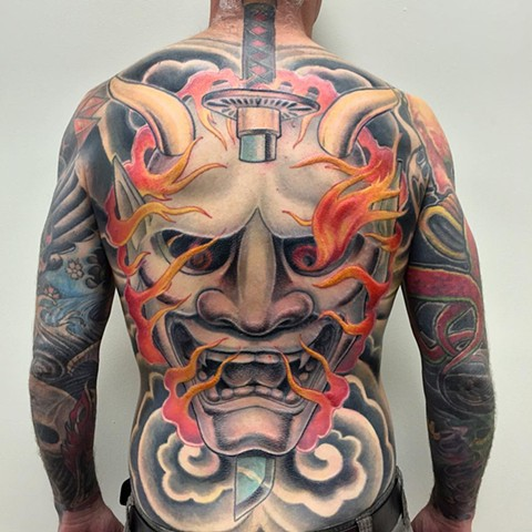 Hannya Back Piece Color Tattoo