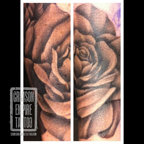 Rose on forearm by Jared Phair