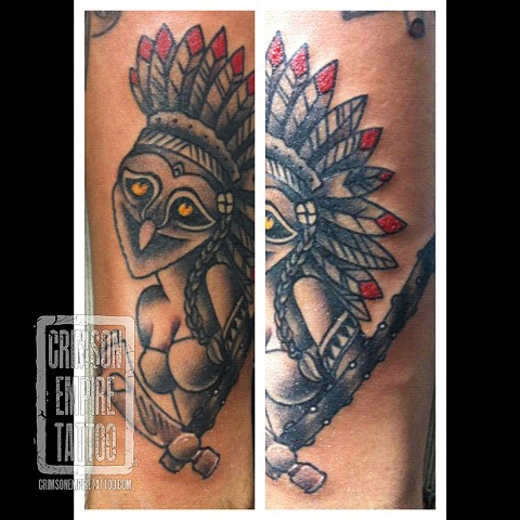 Aborigin-Owl and women on forearm by Jared Phair