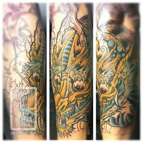 Dragon sleeve on forearm by Jared Phair