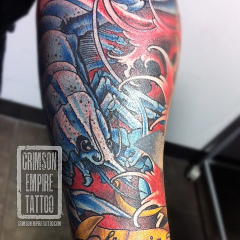 Lobster sleeve on arm by Jared Phair. Follow Jared @jroctizzle.