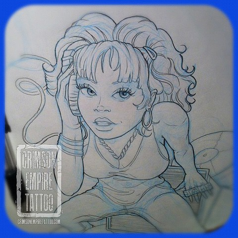 Dj girl sketch by Curt Semeniuk