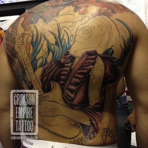 Jimi Hendrix on back (In Progress) by Josh Lamoreux. Follow Josh @joshlamoureux