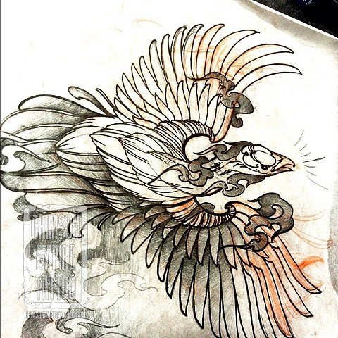 Phoenix sketch on forearm by Chad Clothier