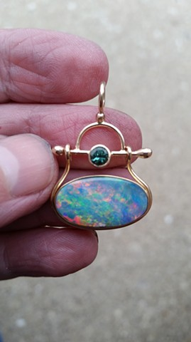 Gold and Tourmaline Hinged Pendant