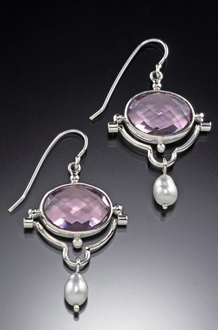 Gem quality checkerboard cut rose quartz garter hinged earrings with pearl