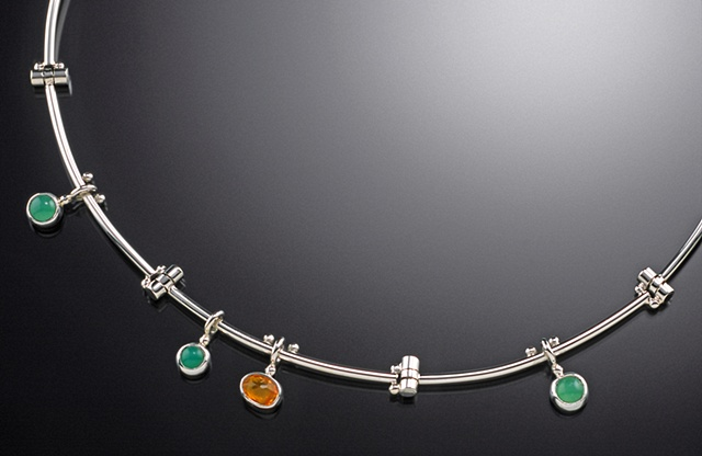 Chrysoprase and Mexican Opal straight-hinge choker
