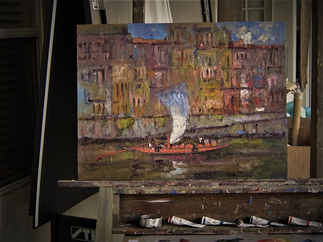 Barco rabelo, paintings of boats, Portugal, Portuguese boat, port wine, port wine barrels