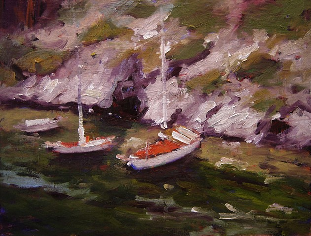Boats, paintings of boats, French, France, Provence, Le Calanques, Cassis, paintings of Cassis