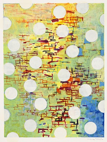 Keiko Hara Space Sukumu-Sky 19 Monotype print with collage and hand work 30 x 22 inches 2011