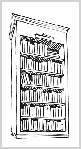 ink drawing brush pen original art illustration library books shelf bookcase read