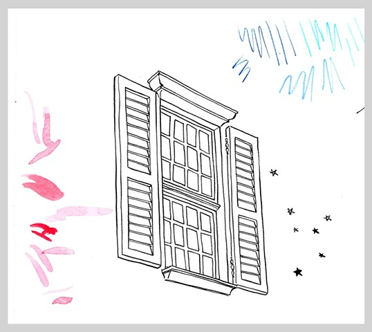 ink drawing brush pen window shutter doodle star book young adult fiction suburb original art illustration
