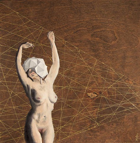 Painting of a nude woman wearing a polyhedral head piece with a grid of random golden lines behind her.