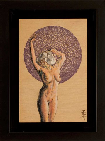 Painting of a nude woman wearing a polyhedral head piece with a purple polytope background