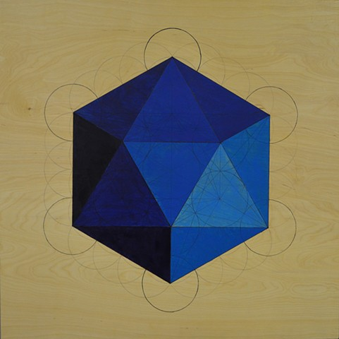 blue icosahedron made on flower of life template