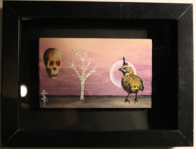 A collaged image of a bird and a skull and a tree on a purple backdrop.
