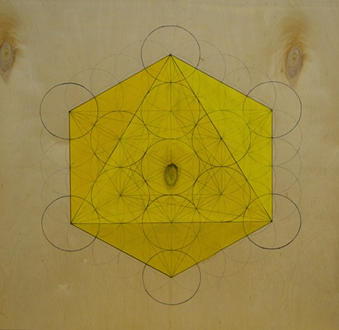 Yellow octahedron created on Flower of Life.