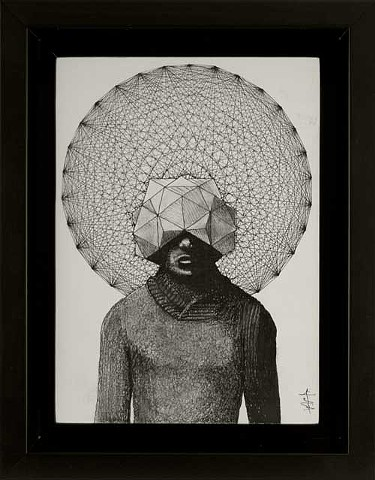 Male in gray sweater portrait ink illustration with geometric polyhedral head piece and polytope background