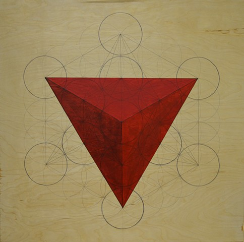 red pyramid on flower of life template